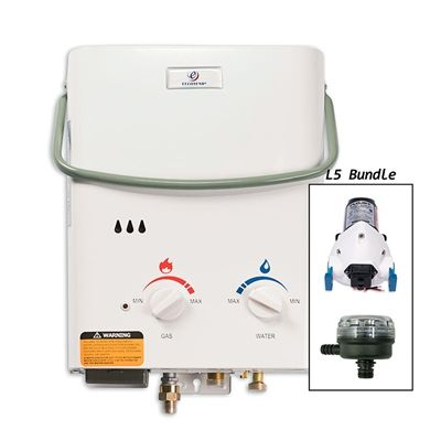 Eccotemp NE33003 L5 Portable Tankless Water Heater w/ 12v Flojet Pump & Strainer
