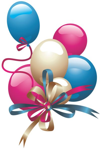 PINK, BLUE AND WHITE BALLOONS CLIP ART
