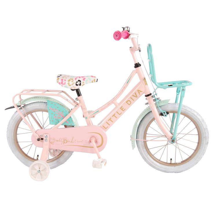"""LD Kinderfiets Little Diva 16"""" roze  Description: De LD by Little Diva 16 inch roze met groene kleuraccenten is een mooie transportfiets voor meisjes in de leeftijdsklasse van 4 tot 6 jaar. De Little Diva heeft een opvallend stalen oversized frame en zorgt dat de fiets stevig is en tegen een stootje kan. De terugtraprem in het achterwiel en de knijprem op het voorwiel zorgen ervoor dat je kind veilig kan remmen en tot stilstand kan komen. De zijwieltjes zorgen voor ondersteuning en kan je…"""