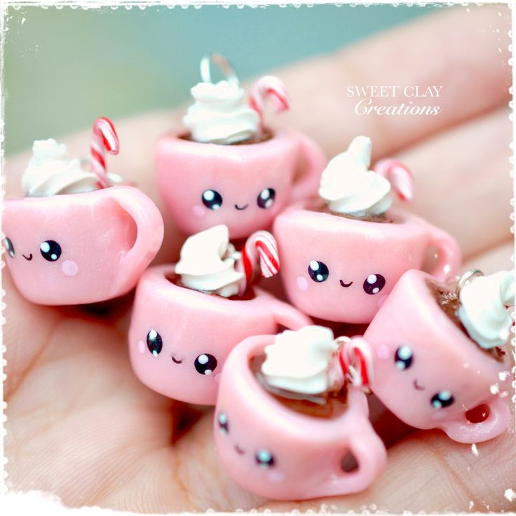 Hot Chocolate Mug Kawaii Charm Pendant Necklace Polymer Clay Miniature Food Jewelry made by Sweet Clay Creations