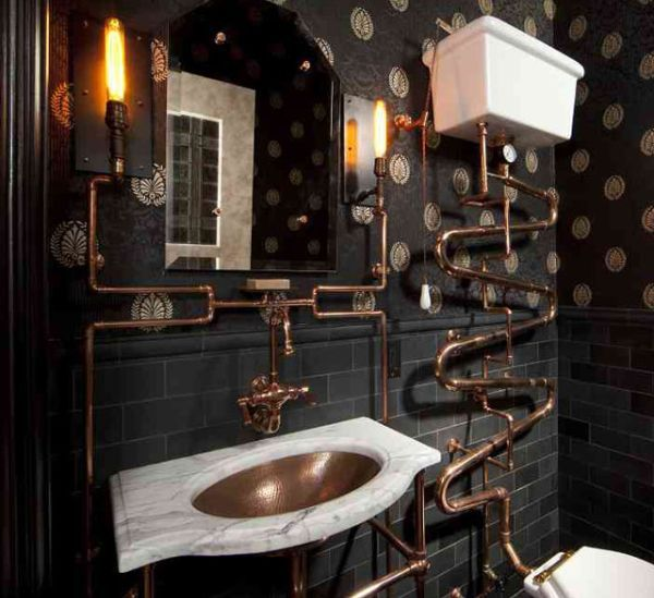 Steampunk Bathroom....would never do this but think its cool