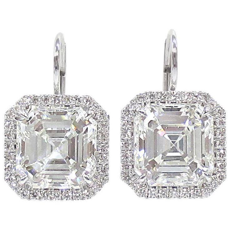 8.36 Carats GIA Certified Asscher Cut Diamonds Gold Earrings