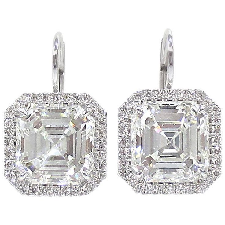 Asscher Cut Diamond Drop Earrings 8.36ctw. GIA