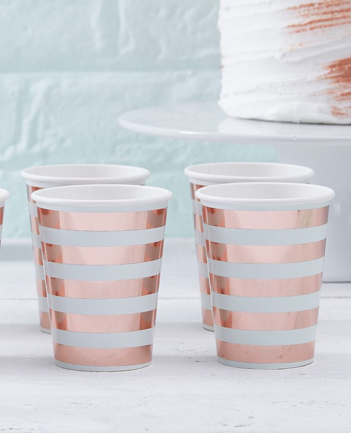Stunning rose gold cups from our range of Hello World baby shower supplies - perfect for a stylish baby shower theme.