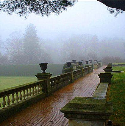 Misty spring day at Old Westbury Gardens, Long Island, NY