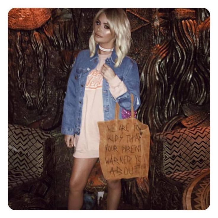 Happiness Brand We Are The Kids Suede Tote Bag as seen on Chloe Sims