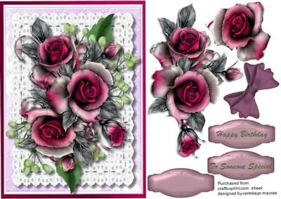 Beautiful Wine roses on Lace on Craftsuprint - Add To Basket!