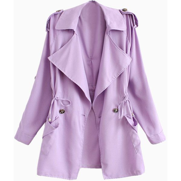 Light Purple Lapel Waisted Double Breasted Trench Coat ❤ liked on Polyvore featuring outerwear, coats, purple trench coat, lapel coat, double-breasted coat, trench coat and purple coats