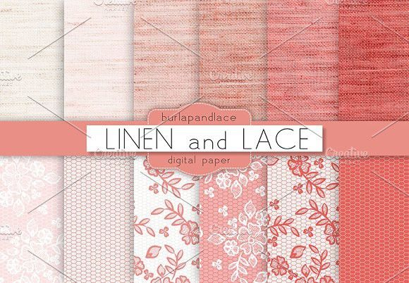 Linen and lace coral red. Patterns