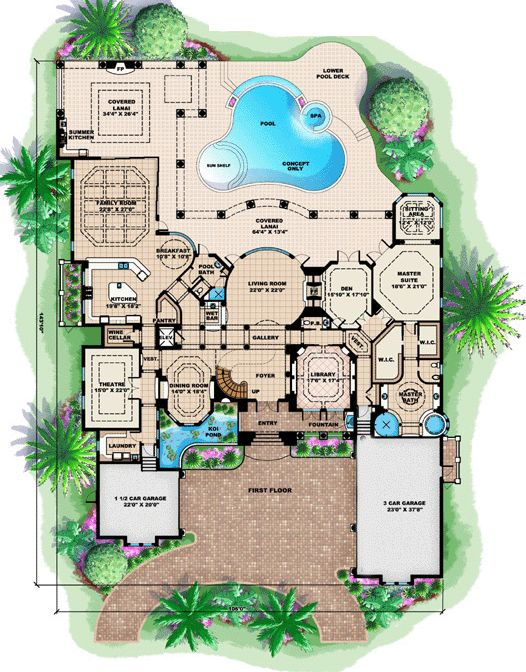 Florida mediterranean house plan 60485 elevator house for Florida mediterranean house plans