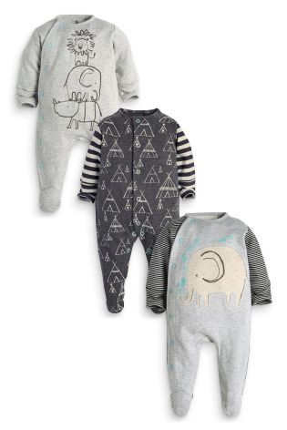 Buy Three Pack Grey Elephant Sleepsuits (5LB-2yrs) online today at Next: United States of America
