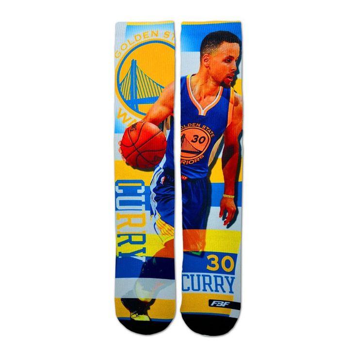 Men's For Bare Feet Golden State Warriors Stephen Curry Pro Stripe Crew Socks, Multicolor