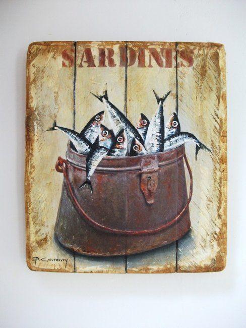 BOITE A SARDINES (Painting) par Philippe Coeurdevey Petites planches de bois peintes et cirées.