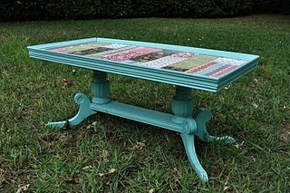 I so did make this....$2.00 table, left over scrapbook paper, and some ModPodge! Paint is Sea Breeze (distressed)