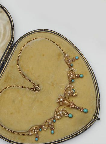 A late Victorian turquoise and seed pearl necklace