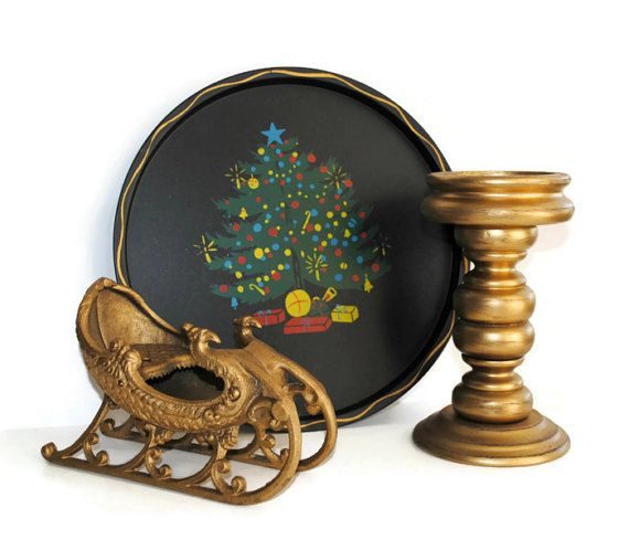 Nashco Christmas Tray Die Cast Iron Gold by BridgetsCollection #SPST4U #CyberSale