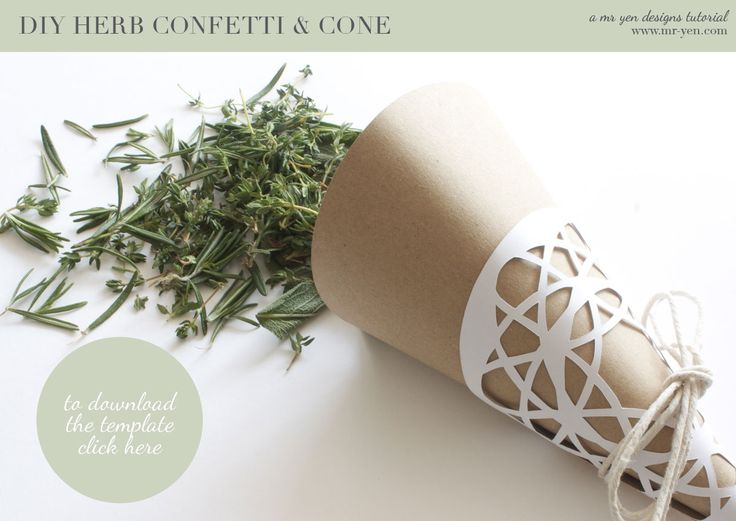 Make your own herb confetti cone tutorial - would look great with some lavender flowers in the mix #lavenderweddingconfetti