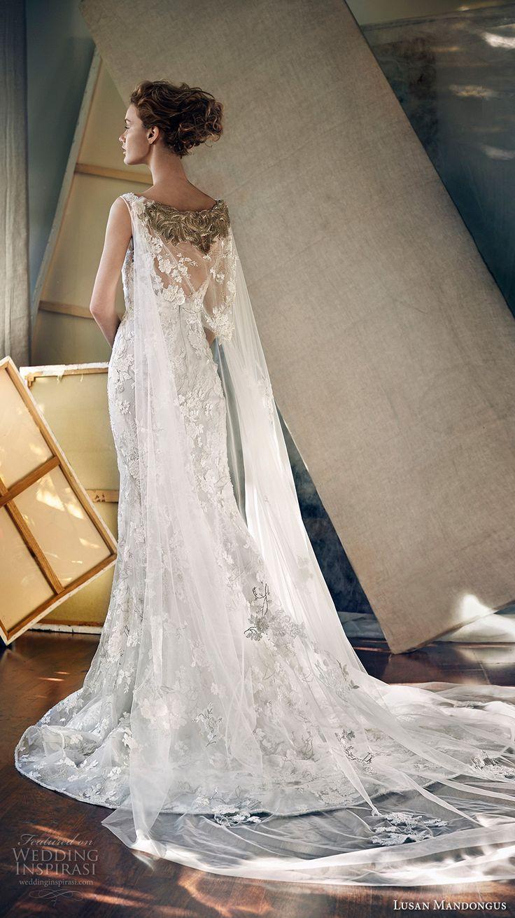 lusan mandongus 2017 bridal sleeveless bateau neckline full embellishment elegant fit and flare wedding dress v back watteau train chapel train (epsilon) bv