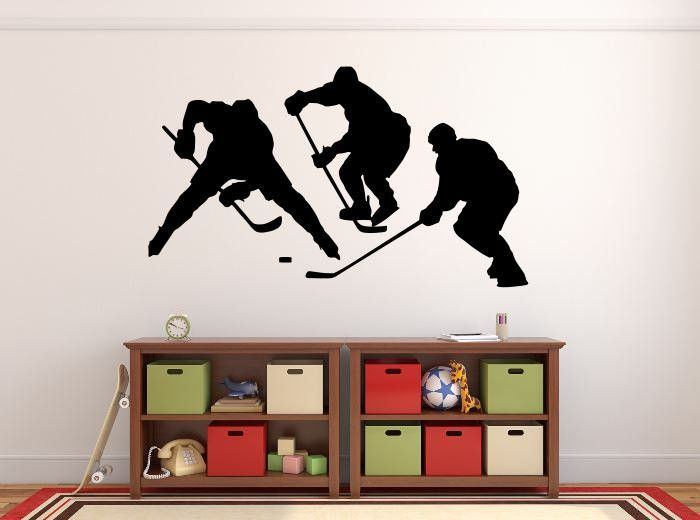 This Hockey Players silhouette wall decal measures 27 inches high by 46 inches wide. *****Store Policies****** **Shipping and Payments** -Domestic Shipping Items are shipped via USPS First Class Mail.
