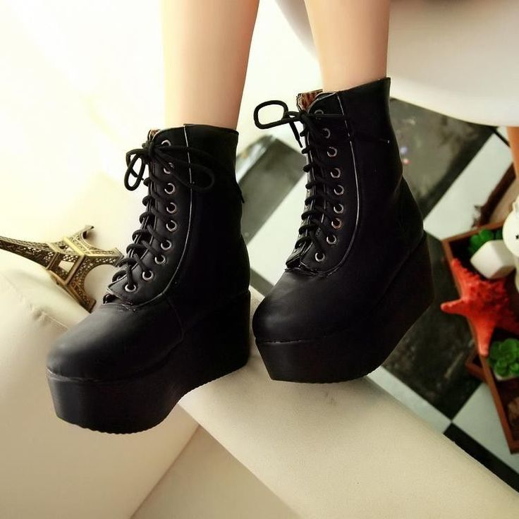 Womens platform wedges high heels lace up punk goth creeper hi top ankle boots