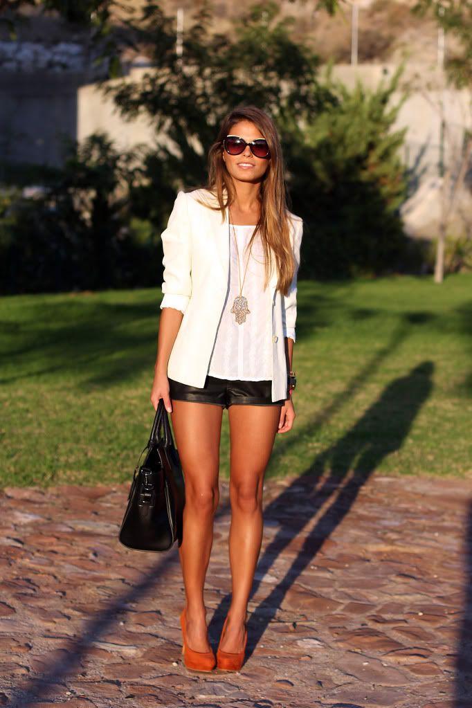white blazer with black leather shorts