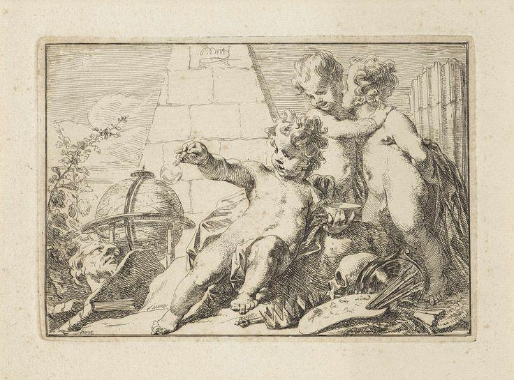 Jacob de Wit | Allegorie op de vergankelijkheid, Jacob de Wit, 1705 - 1754 | Voor een piramide spelen drie naakte putti. Een van hen is aan het bellenblazen. De putti zijn omringd door vergankelijkheidsymbolen zoals globe, de zeepbel, schedel en het antiek gebeeldhouwde hoofd. Deze objecten wijzen op het verstrijken van de tijd. Het boek en het schilderspalet kunnen opgevat worden als dat de kunst de dood overwint.