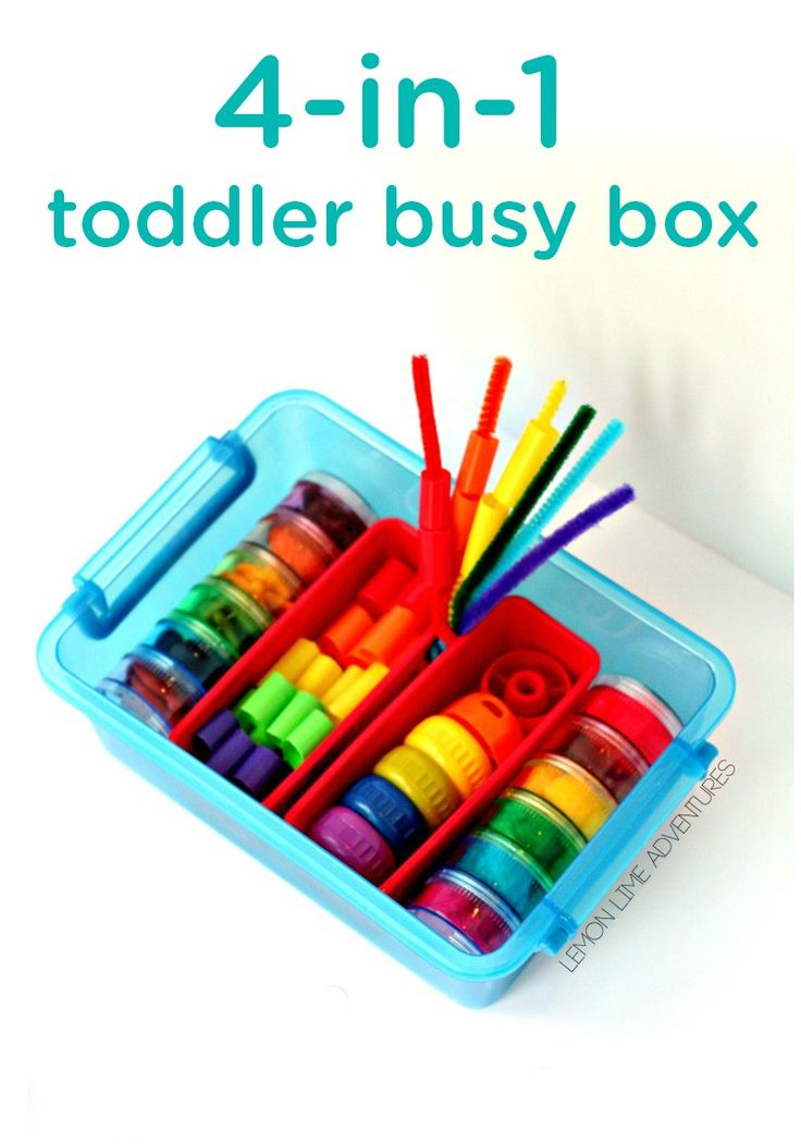 Looking for a fun DIY activity to keep your little one entertained? This 4-in-1 toddler busy box is great for when you're  traveling. With items for sorting, snacking, lacing, and stacking, these hands-on activities are perfect for practicing his or her motor skills.