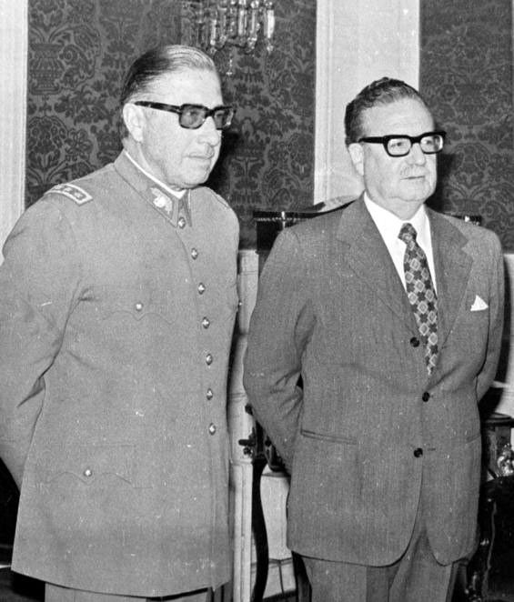 President Salvador Allende Gossens and General Augusto Pinochet. This rare photo was taken shortly before Pinochet deposed Allende in a violent Military Coup.