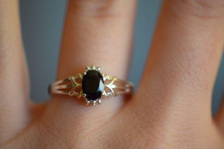 Awesome  2ct  Black Onyx Women 0.12  Diamond 14k Yellow Wedding Gold Women Ring #Goldjewellery17 #Solitaire