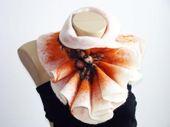 Wool felted Scarf Neckpiece Collar/ Chunky Cowl by NataliyaMalik