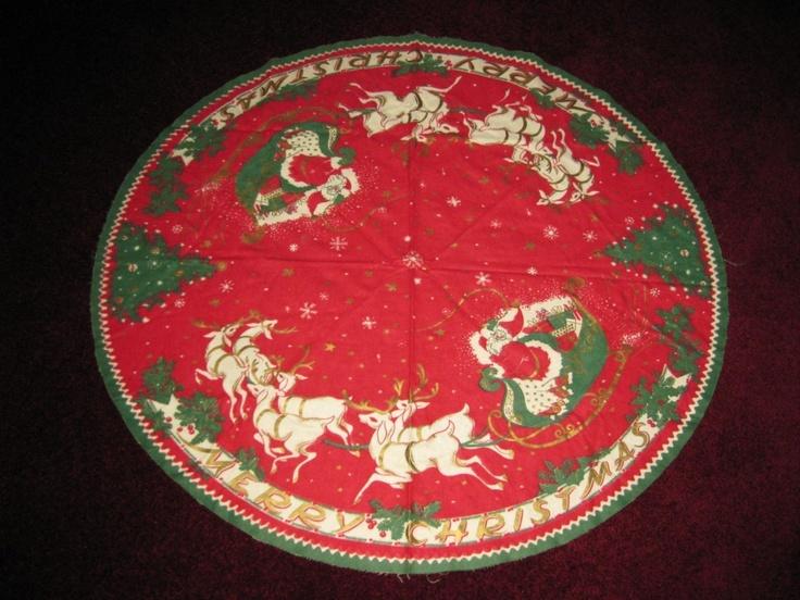 Vintage 1950s Flannel CHRISTMAS TREE SKIRT W Santa Sleigh