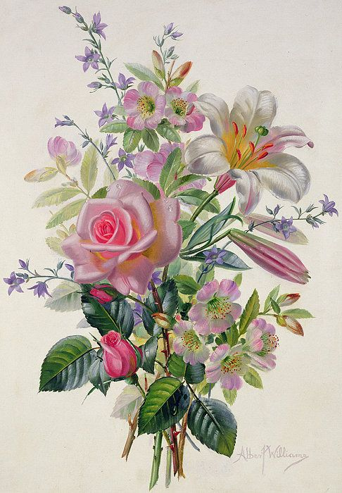 A Pink Bouquet Print By Albert Williams