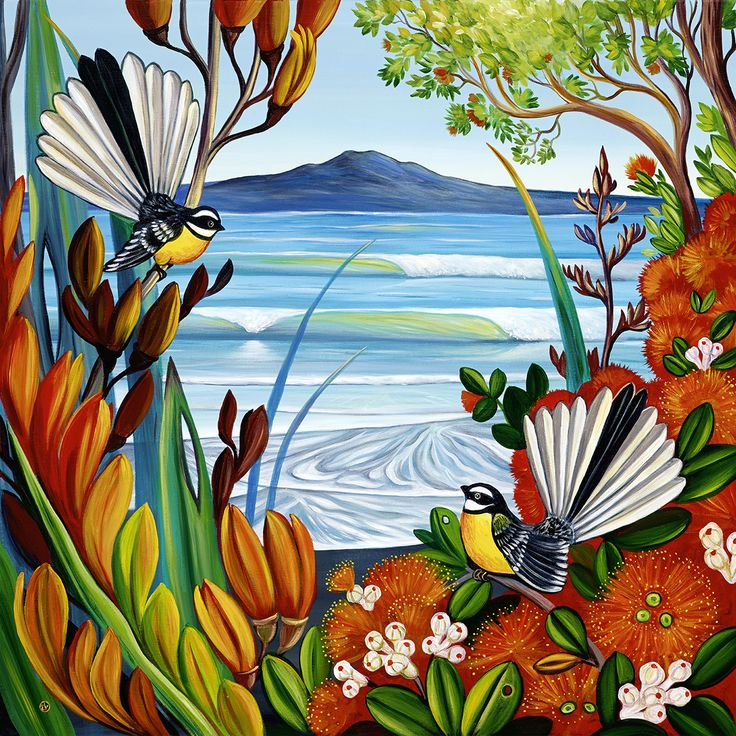 Best Time Of The Year - by Irina Velman. Artprints available from www.imagevault.co.nz #fantails #Rangitoto Island