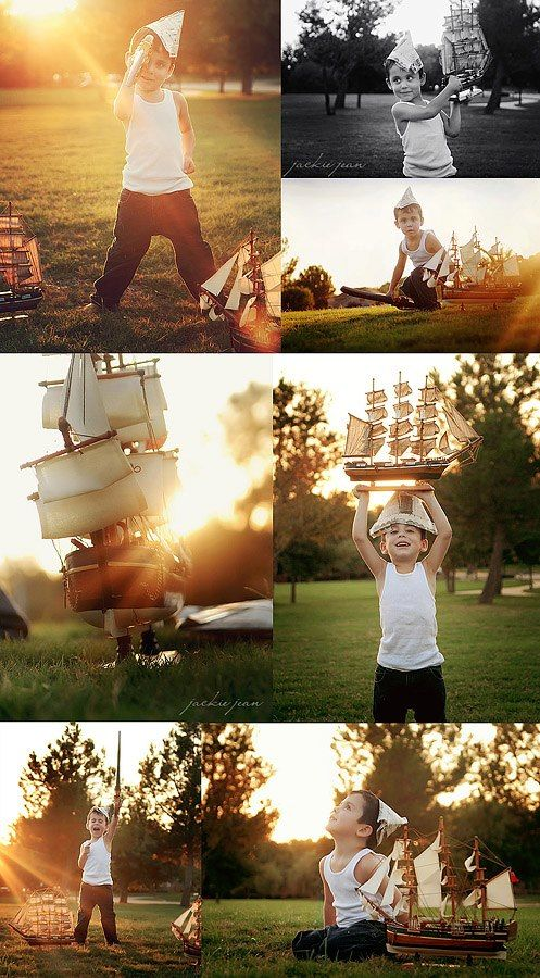 Great Magic Hour Little Boy Session. ♥ Photo Shoot Ideas | Props | Prop | Child Photography | Clothing Inspiration| Fashion | Pose Idea | Poses | Summer Fun | Boat | Boys