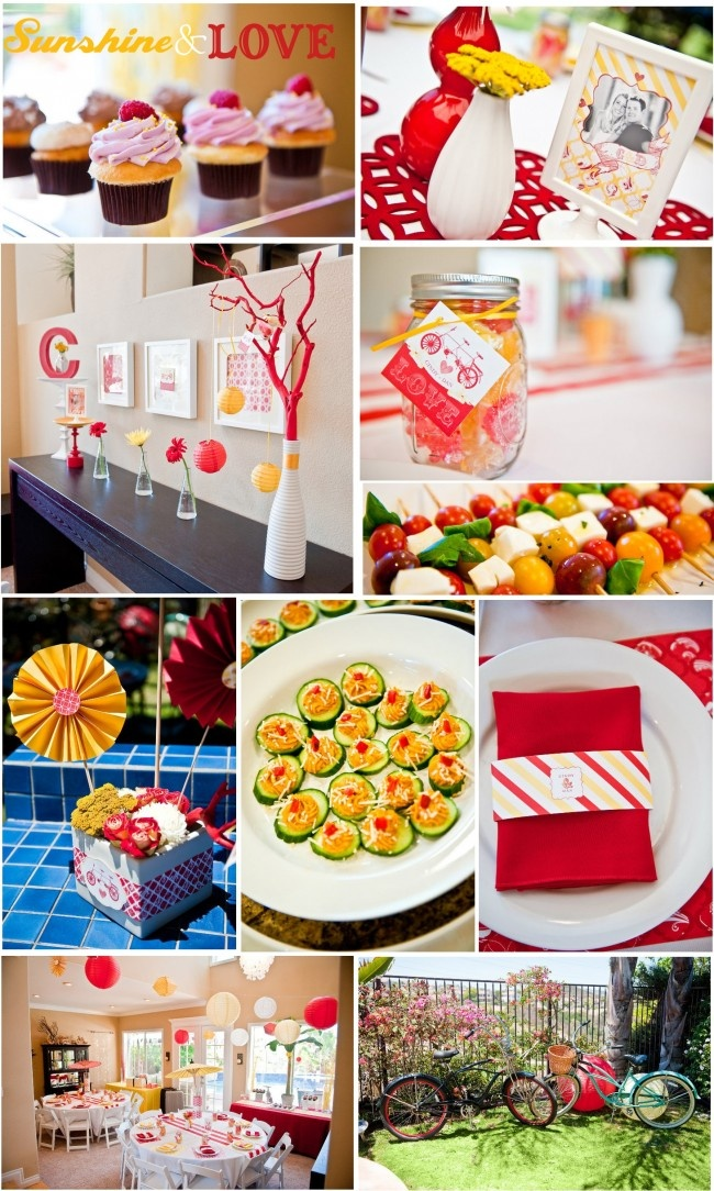"Ideas for Lilli Marie's shower- great ""sunshine and love"" (ie, yellow and red) baby shower theme! (pizzazzerie.com)"