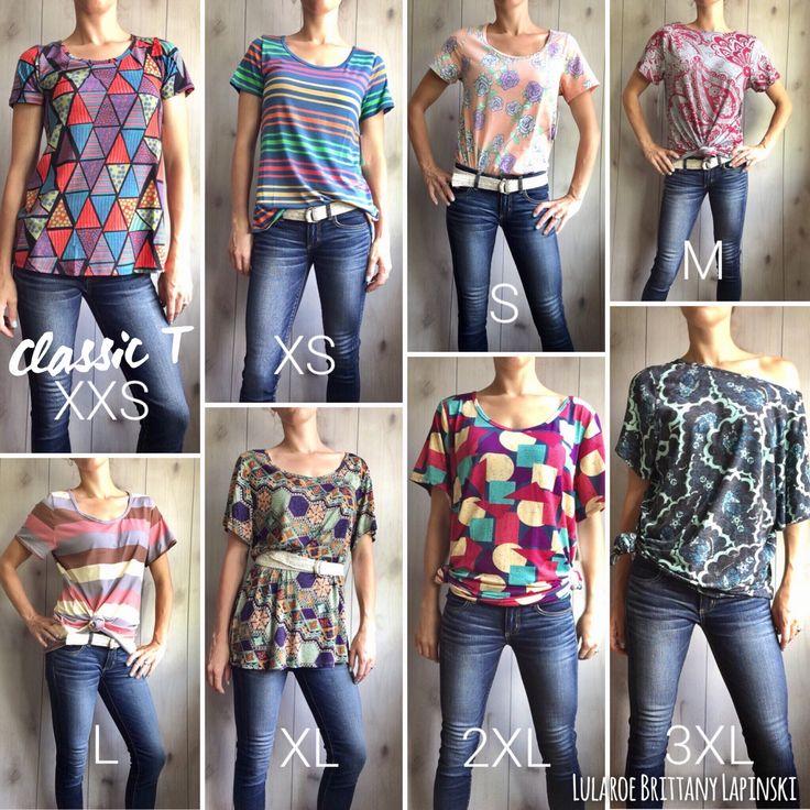 LuLaRoe Classic T in every size styled! LuLaRoe Brittany Lapinski https://m.facebook.com/groups/1112517952129769