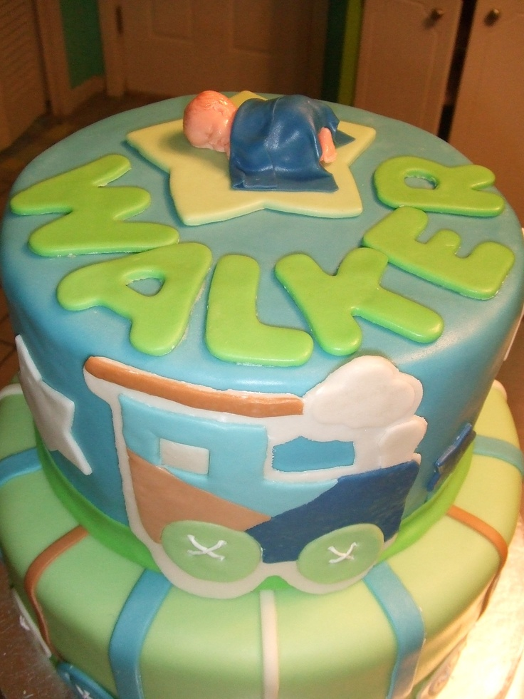 Green blue train baby shower cake