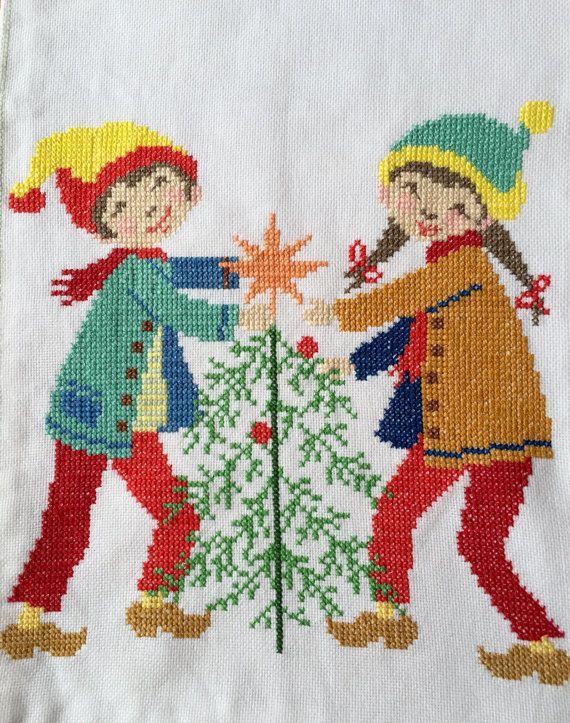Vintage Christmas Cross Stitch Scandinavian Table Runner December Season Gift
