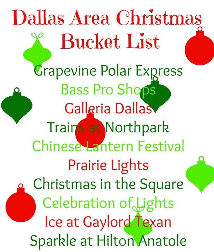 Dallas Area Christmas Bucket List, I have already done some of these, just a few more left!