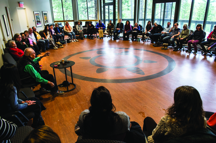 Participants in the Elder Tom Crane Bear Room (Cultural space on campus where some of the Summit will be held). Photo courtesy The Banff Centre.