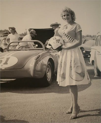 Miss Corvette Before The Race Vintage Corvette
