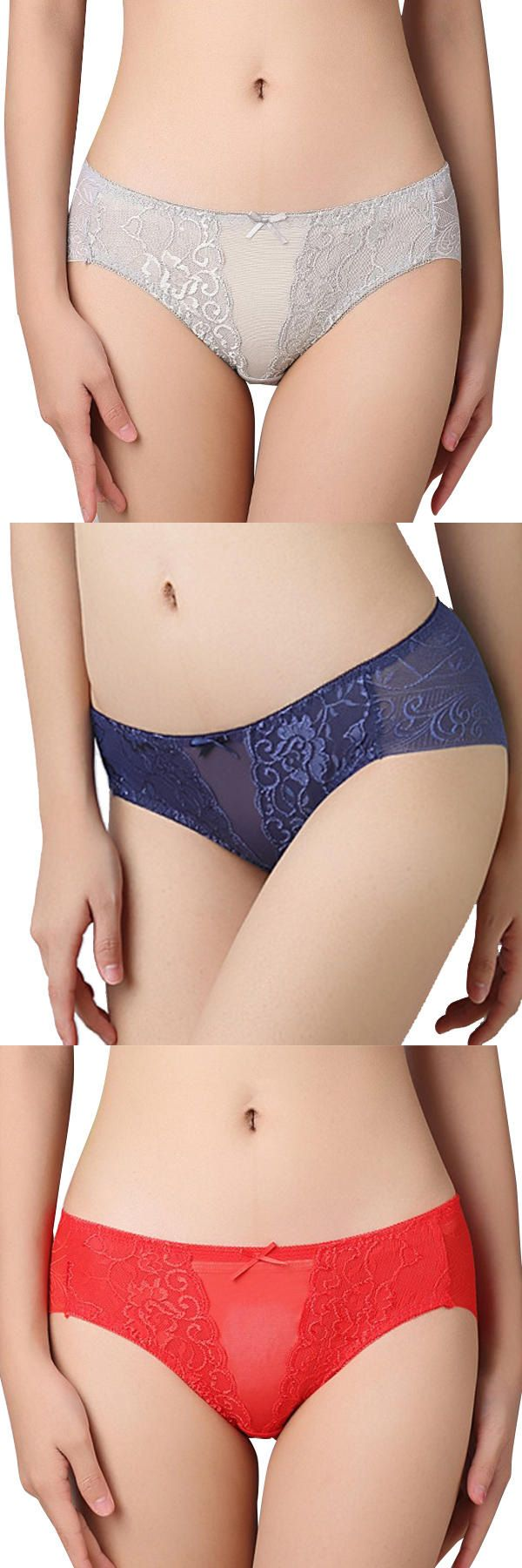 Sexy Hollow Lace Mid Waist Breathable Women Underwear