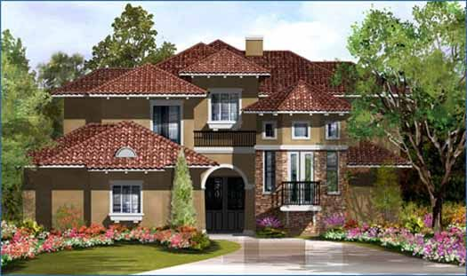 Italian Style Houses love the staircase. raised study. italian style house plans - 3413