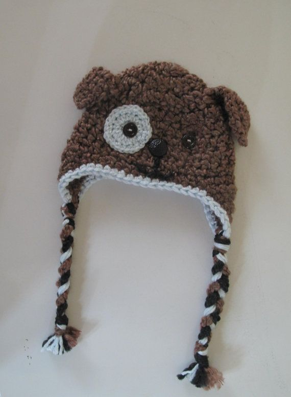 Puppy hat with ties. <3  This one fits 6-12 months - custom order for different colours/sizes.  So cute!