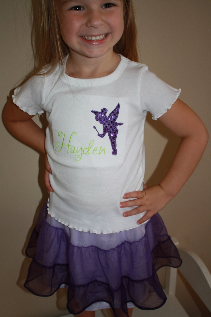 purple sequin birthday tinkerbell silhouette tink applique infant toddler girls onesie shirt
