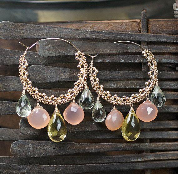 Lemon Quartz Pink Chalcedony Green Amethyst 14k by JewelleryHaven