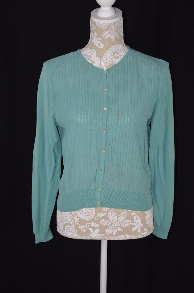 Coldwater Creek Womens Petite Small Teal Button Down Crewneck Sweater Cardigan #ColdwaterCreek #Cardigan #Casual