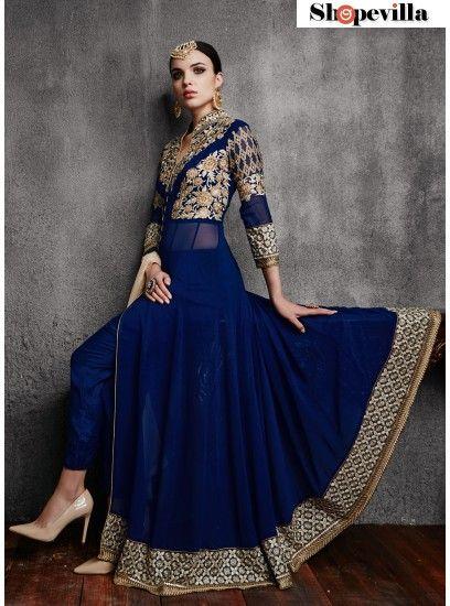 Gripping Embroidered Navy Blue Georgette Front Open Anarkali Salwar Suit-11003-B