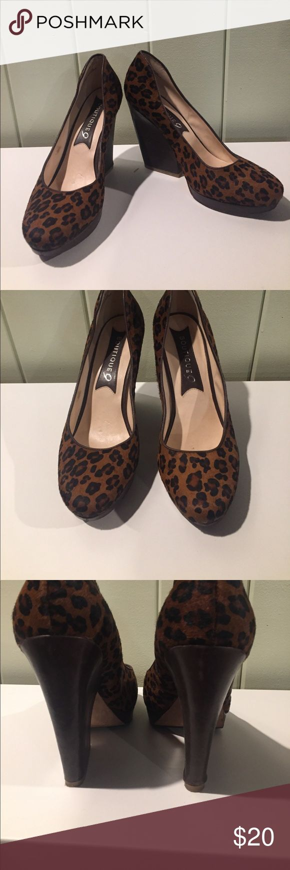 """Boutique 9 leopard wedges Boutique 9 calf hair leopard wedges with brown base. Architectural 4.5"""" wedge with .5"""" platform. Leopard section is in great condition, scuffing on heel and right shoe has a wrinkle on the bottom, see photo. Boutique 9 Shoes Wedges"""
