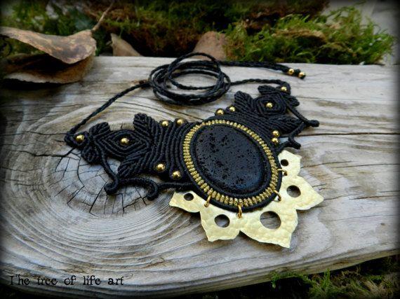 Macrame brass necklace with Lava stone & brass beads/lotus necklace/tribal macrame/leaves macrame/yoga jewelry/ethnic necklace